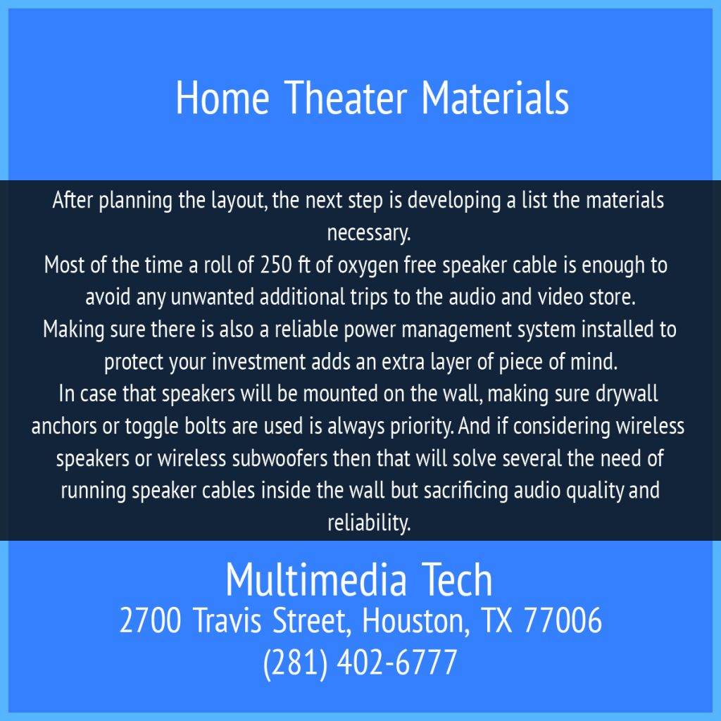 Home Theater Materials